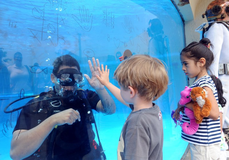 Navy diver high-fives a boy through the aquarium glass during a Navy diver demonstration at the New York Aquarium