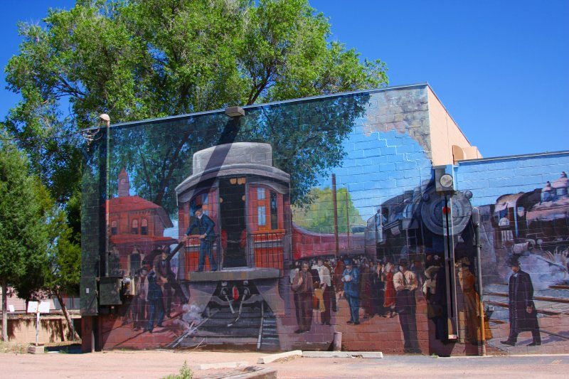 Painted mural on brick building in downtown Colorado Springs, CO