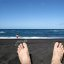 Lazzy Feet on a Blue Ocean Beach vacation