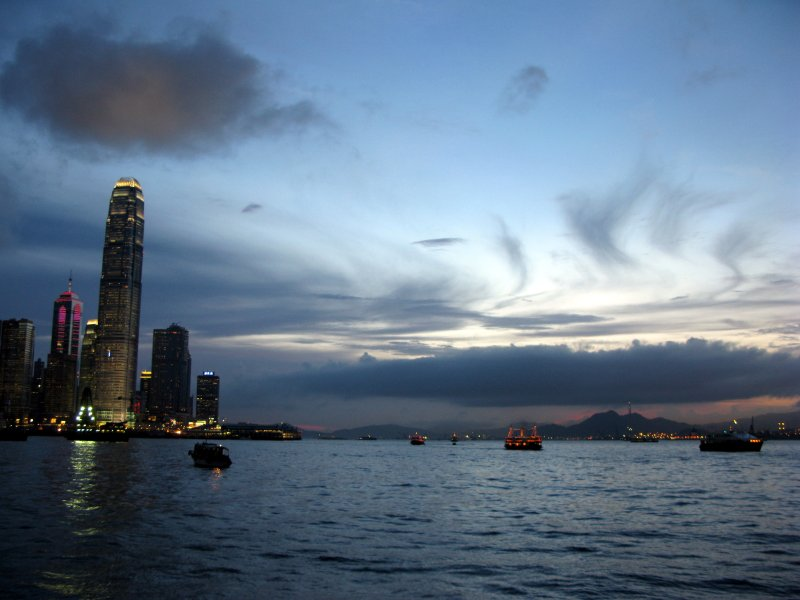 ifc and harbour at dusk