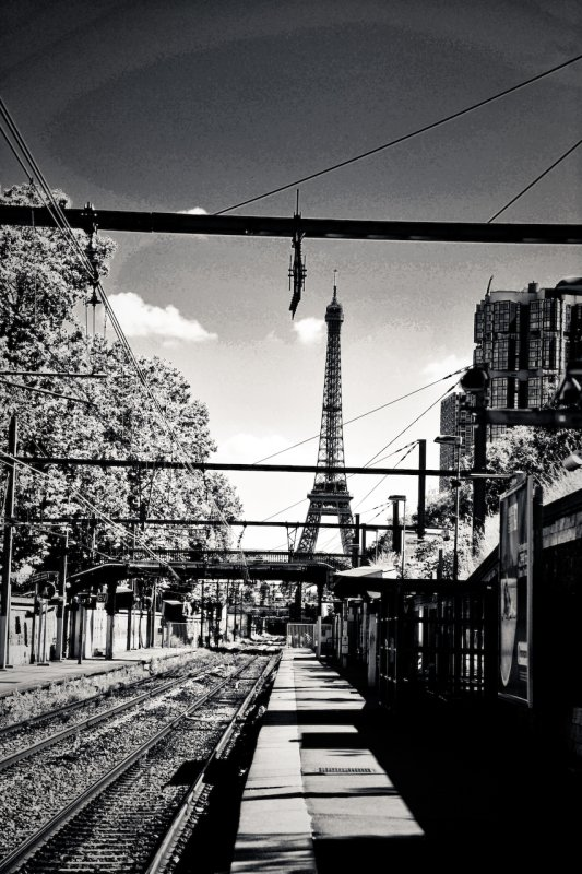 Paris Tour Eiffel from the Train Station
