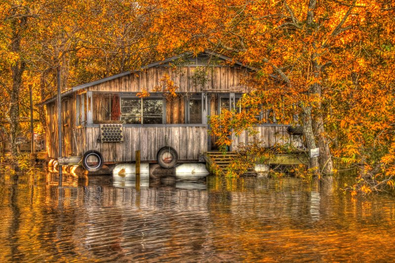 Floating camp on Ouachita river - HDR