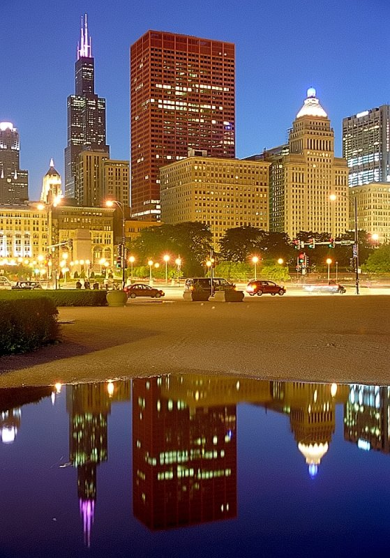 """Chicago - Sears(Willis) Tower & CNA Building """"Reflected from a rain puddle"""""""