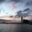 International Commerce Center and Tsim Sha Tsui silhouetted against the dusk sky