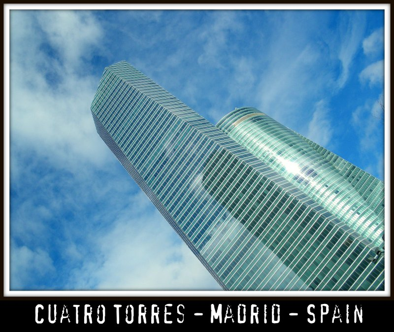 The ultra modern Cuatro Torres northern Madrid Business area - Which is called the new Skyline of Madrid, the capital of Spain. Wonderful urban architecture at it's very best! Enjoy the elegant lines and beauty!:)