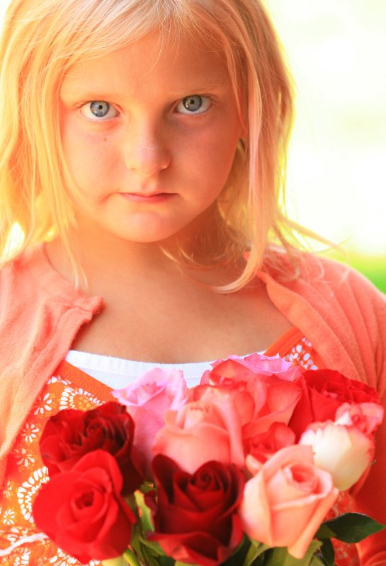 Free Sweet Little Girl With Roses Creative Commons Unedited