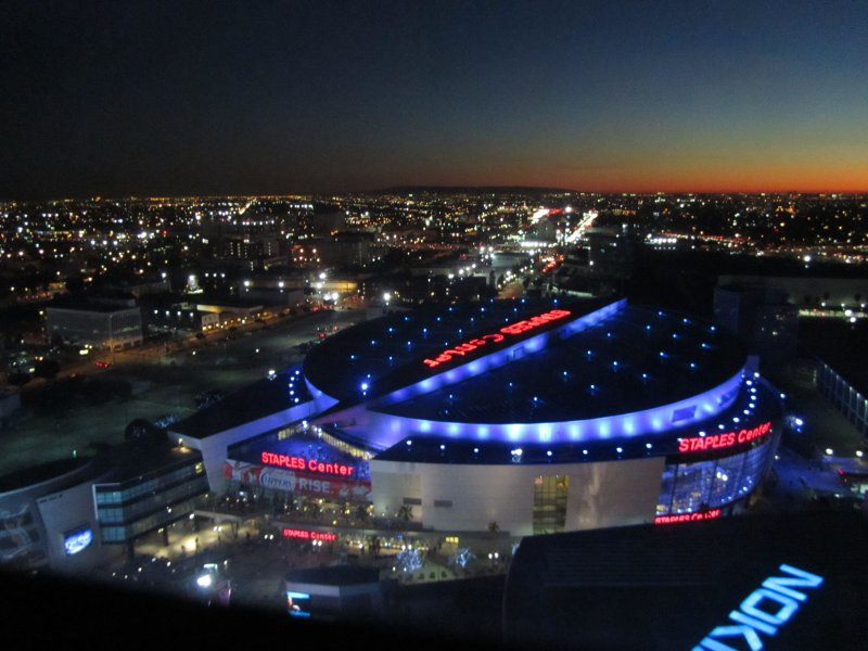 Staples Center from the roof of the Ritz Carlton hotel