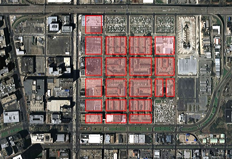 5 of 5: Storyville superimposed on the Iberville Housing Project.