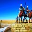 Impressive statue of Blackfeet Metal Warriors on horseback