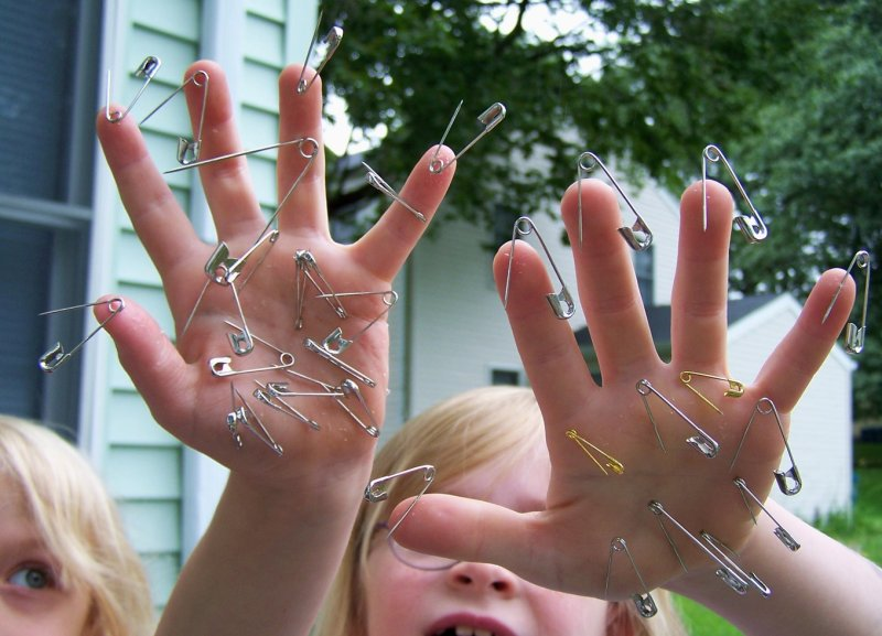 Free Children with Safety Pins Stuck in Their Hands Creative Commons