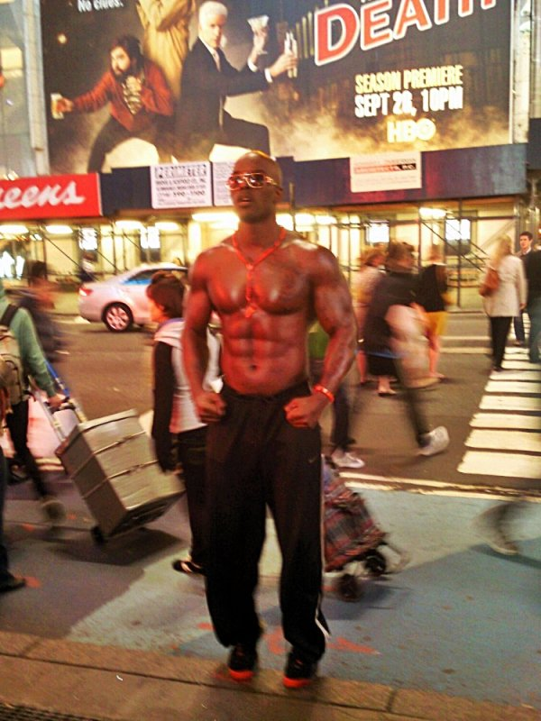 Muscle Man Work Out Times Square