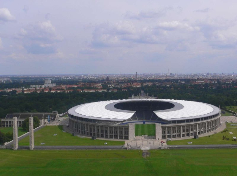 Renovated Berlin Olympic Stadium seen from above, Germany