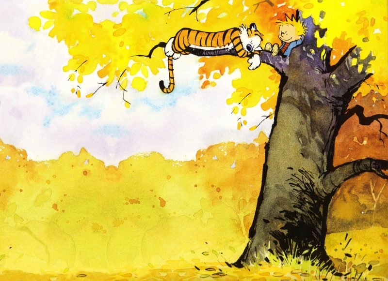 Calvin and Hobbes Relaxing in a Tree - Wallpaper